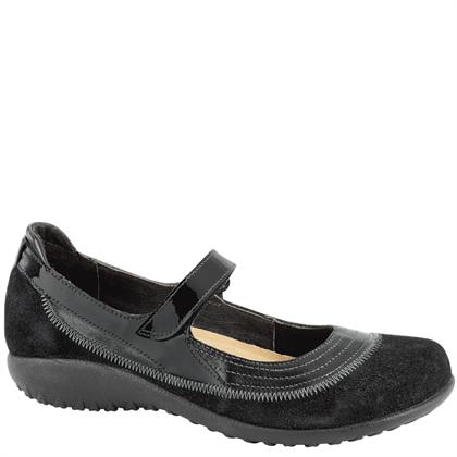 Naot Women's Kirei Black Madras Leather/Black Suede/Black Patent Leather Medium / wide