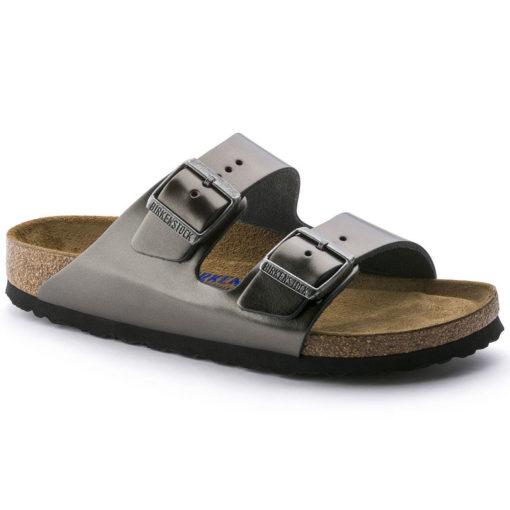 Birkenstock Arizona Soft-Footbed Metallic Anthracite Leather