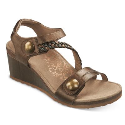 Aetrex Women's Naya Braided Quarter Strap Wedge Sandal Bronze