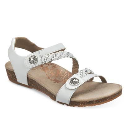 Aetrex Women's Jillian Braided Quarter-Strap Sandal White