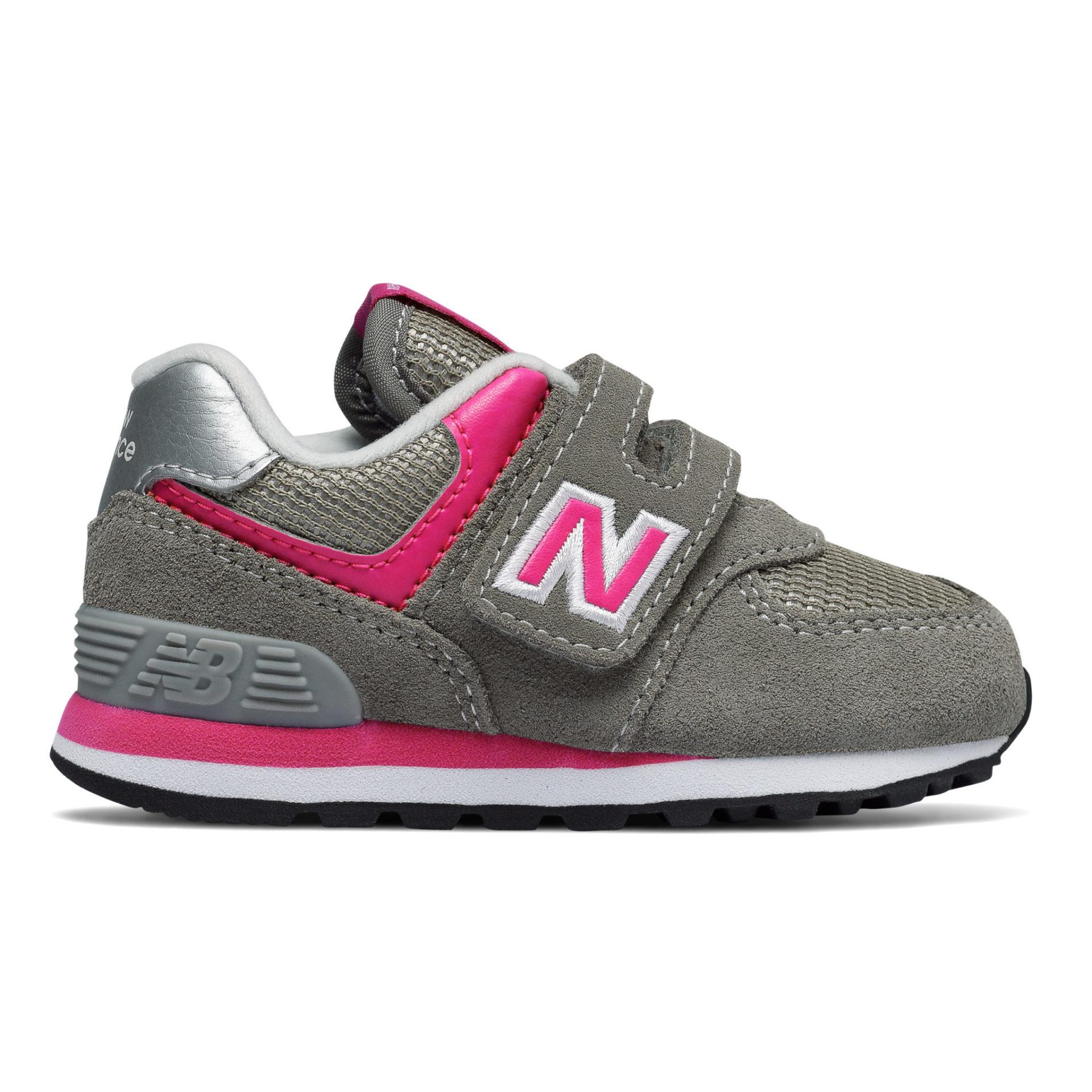 sports shoes b117d 32380 New Balance 574 Pink Grey Infant Velcro