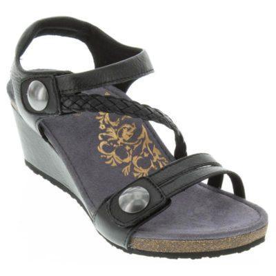 Aetrex Women's Naya Braided Quarter Strap Wedge Sandal Black