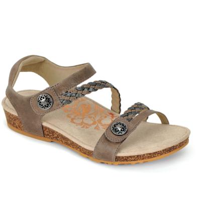 Aetrex Women's Jillian Braided Quarter-Strap Sandal Stone