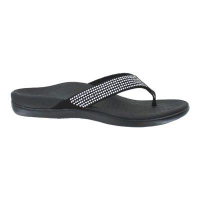 Vionic Women's Tide II Rhinestones Toe Post Sandal Black
