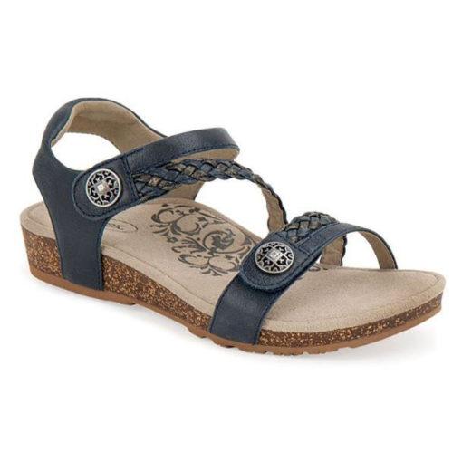 Aetrex Women's Jillian Braided Quarter-Strap Sandal Navy