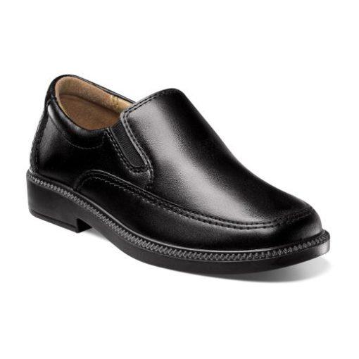Florsheim Kid's Bogan Jr. Moc Toe Slip-On Loafer Black Leather