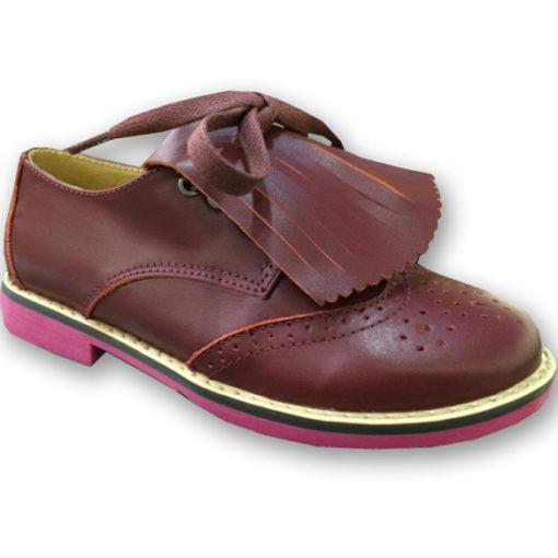6th & Madison Kid's Brooklyn Brogue Burgundy Leather