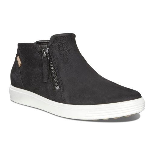 ECCO Women's Soft 7 Low Bootie Black/Powder Leather