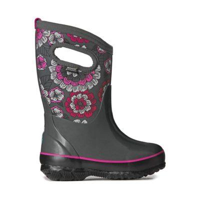 Bogs Kid's Waterproof Insulated Boots Classic Pansies Dark Grey/Multi