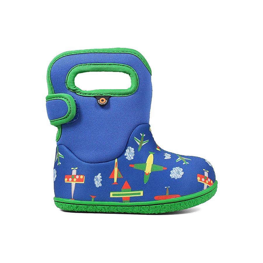 Bogs Baby Toddler Waterproof Boots Plane Blue Multi