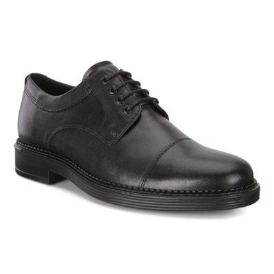 ECCO Men's Newcastle Cap Toe Tie Black Leather