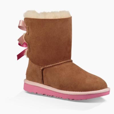 Ugg Bailey Bow II Kid's Chestnut/Pink Azalea Boot