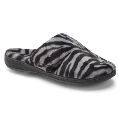 Vionic Women's Gemma Mule Slipper Dark Grey Zebra