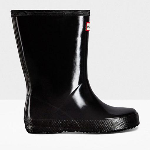 Hunter Little Kid's First Classic Gloss Rain Boots Black