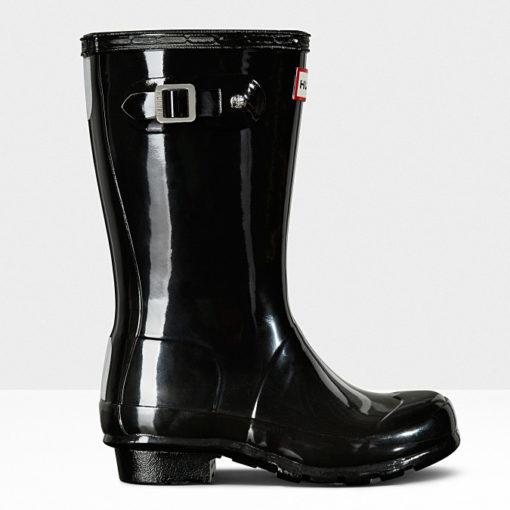Hunter Original Big Kid's Gloss Rain Boots Black