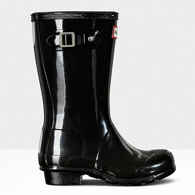 720f0694d7ca Hunter Original Big Kid s Gloss Rain Boots Black