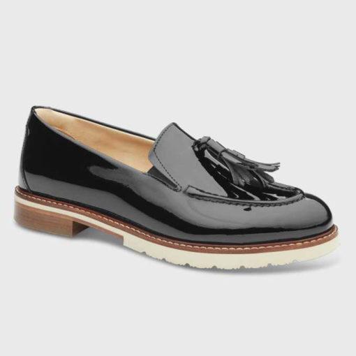 Samuel Hubbard Women's Tasseled Traveler Loafer Black Patent Leather/Ivory Sole
