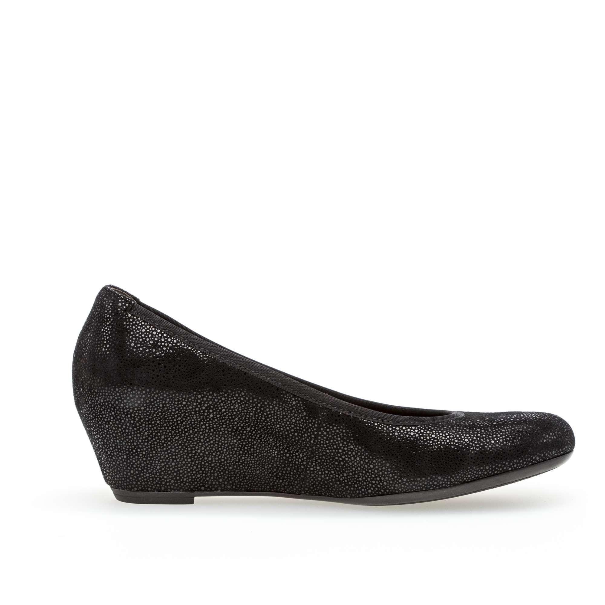 daaa7d8465b6b Gabor Women's Stella Wedge Pump Effect Leather Black   Laurie's Shoes