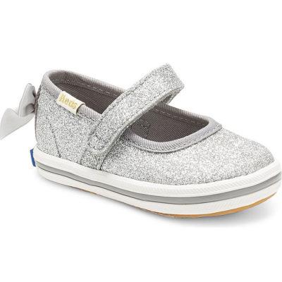 Keds Little Kid X Kate Spade New York Sloan Mary Jane Glitter Crib Sneaker Silver