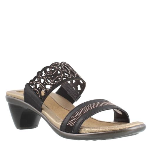 Naot Women's Contempo Mid Heel Sandal Black Leather