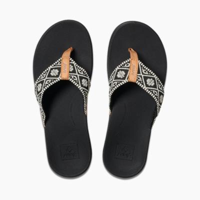 Reef Women's Ortho-Bounce Woven Sandal Black/White