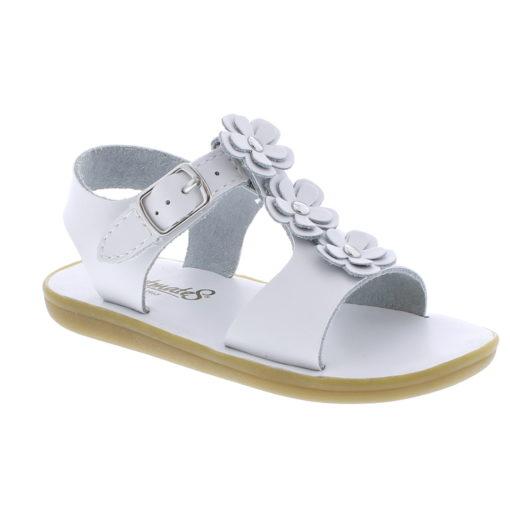 Footmates Kid's Jasmine Flower Applique Sandal White