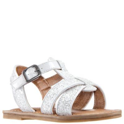 Nina Kid's Bernice T-Strap Sandal White Glitter