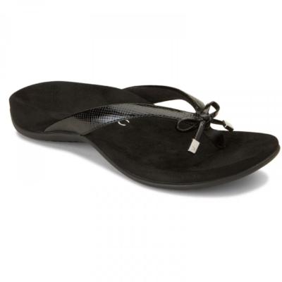 Vionic Women's Bella II Toe-Post Sandal Black Lizard