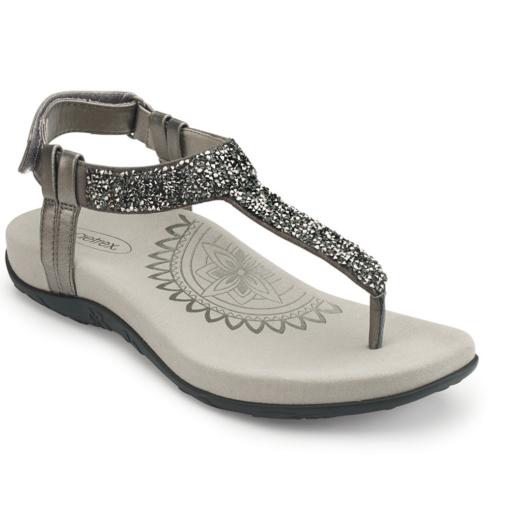 Aetrex Women's Jade Sparkle Thong Sandal Gunmetal