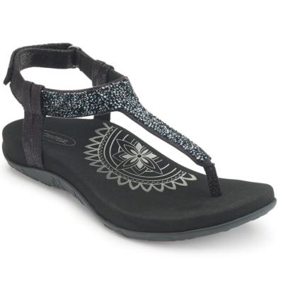 Aetrex Women's Jade Sparkle Thong Sandal Black