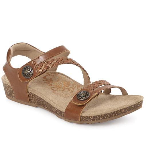 Aetrex Women's Jillian Braided Quarter-Strap Sandal Cognac