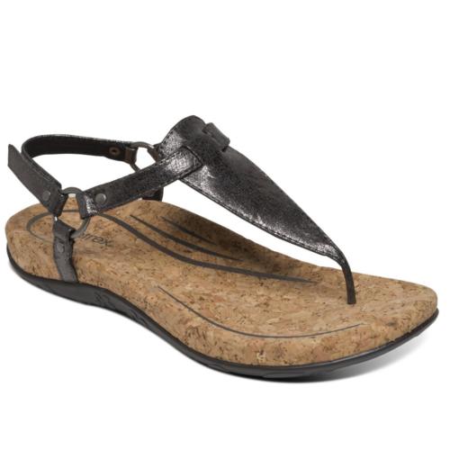 Aetrex Women's Emilia Slingback Thong Sandal Pewter