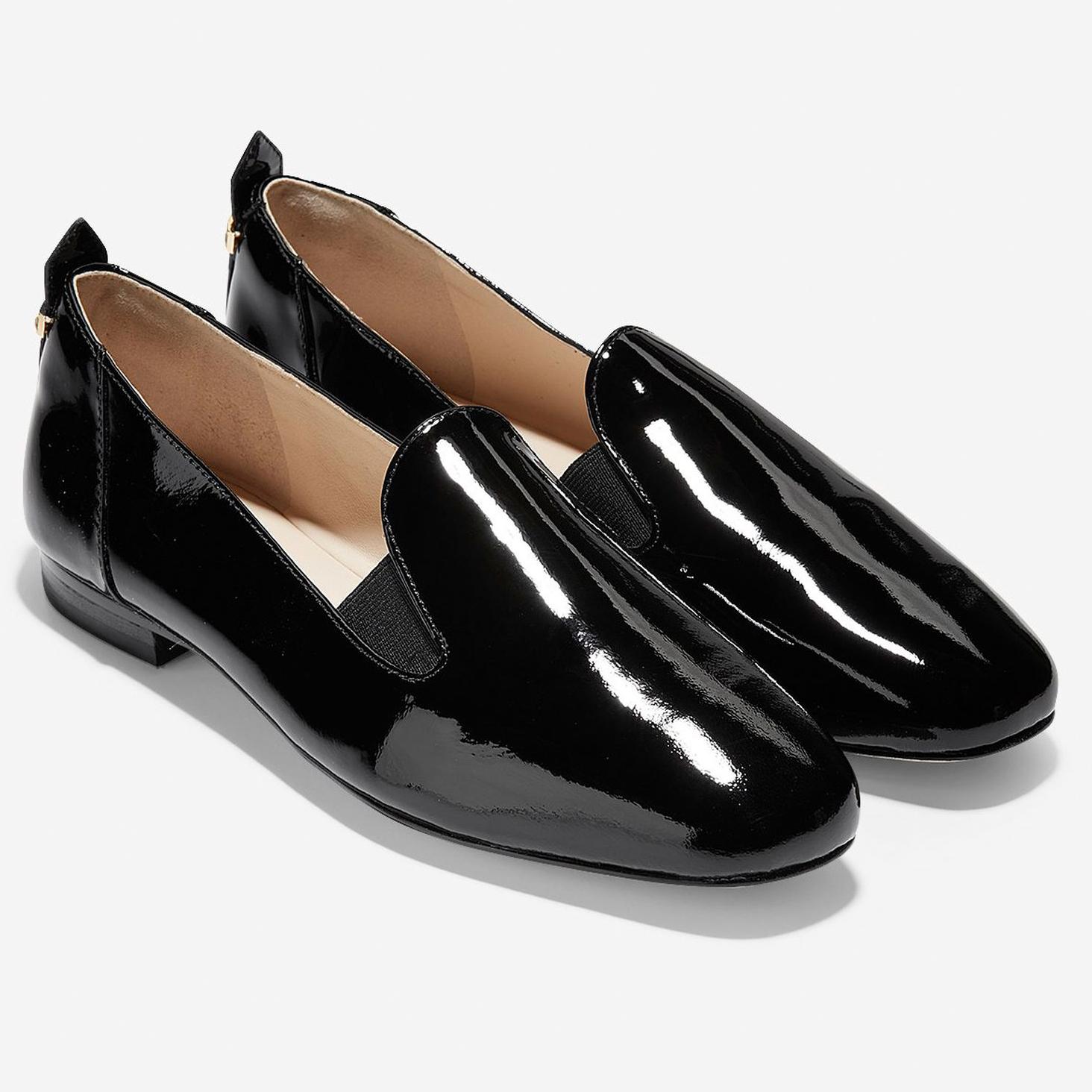 8dd001a7e88 Cole Haan Women's Portia Loafer Black Patent-Black Gore-Black Stack ...