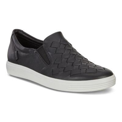 ECCO Women's Soft 7 Woven Black Leather