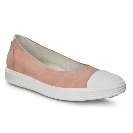 ECCO Women's Soft 7 Ballerina Flat White/Muted Clay
