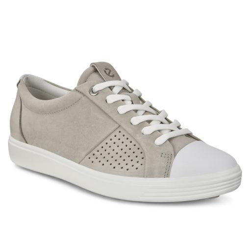 ECCO Women's Soft 7 Cap Toe Sneaker White/Concrete Nubuck
