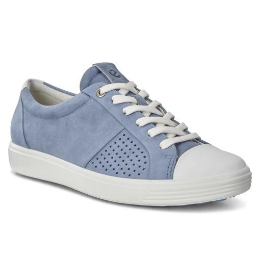ECCO Women's Soft 7 Cap Toe Sneaker White/Retro Blue Nubuck