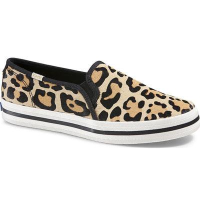 Keds Women's Double Decker Calf Hair Slip On Leopard