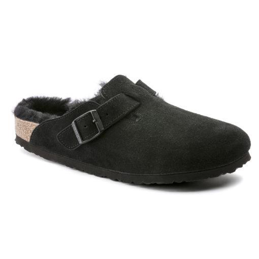 Birkenstock Boston Shearling Black Suede Leather
