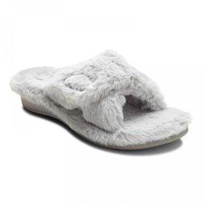 Vionic Women's Relax Plush Slippers Light Grey