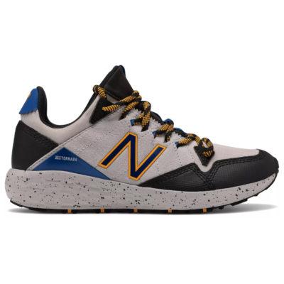 New Balance Kid's Fresh Foam Crag Trail Sneaker Grey with Black/Blue
