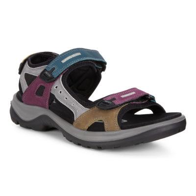 ECCO Women's OffRoad Flat Sandal Petrol/Aubergine/Fir Green