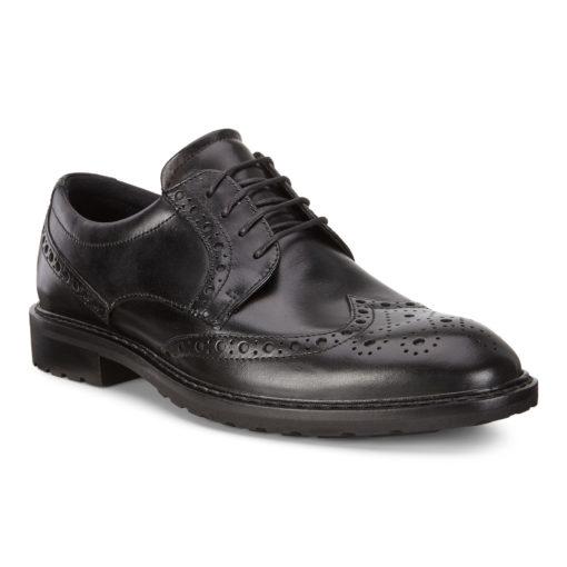 ECCO Men's Vitrus I Wing Tip Tie Black Leather