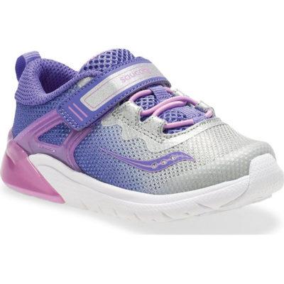Saucony Little Kid's Flash Glow JR A/C Sneaker Purple/Silver