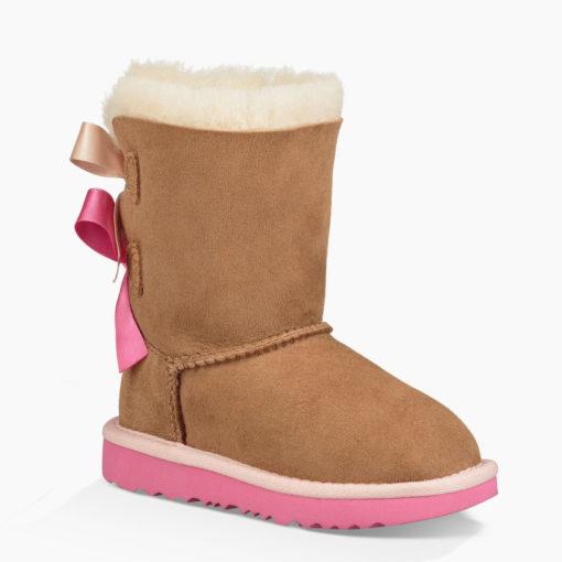 Ugg Toddler's Mini Bailey Bow II Boot Chestnut/Pink Azalea