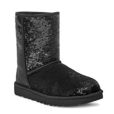 UGG Women's Classic Short Cosmos Sequin Boot Black/Gunmetal